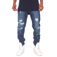Pasieka Knox Slim Straight Distressed Jeans Blue