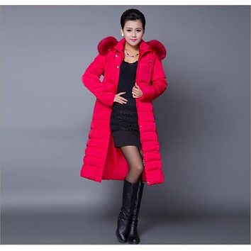 Xl/5Xl Women'S Plus Rabbit Fur Collar Hooded Down Jacket X-Long Large Size Thick Fashion Cotton Padded Coat Causual Parkas S2517