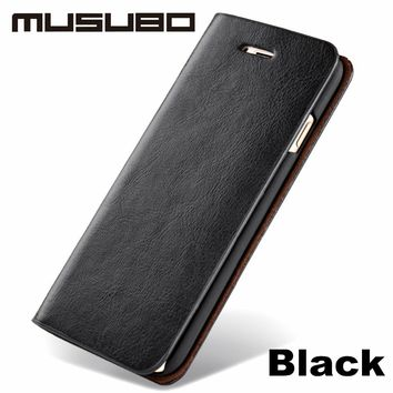 Musubo Ultra Slim Leather Phone Case Cover For iPhone 5 6 7 8 Luxury Card Holder Wallet Flip Case For iphone 7 plus 6 Plus