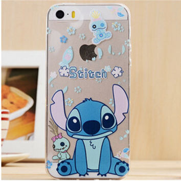 Cute Blue Lilo & Stitch Cartoon TPU Transparent Soft Phone Back Case Shell Cover for iPhone 5 5S SE