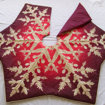 Burgundy & Gold  Snowflake Tree Skirt