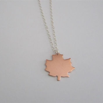 Maple Leaf necklace, copper Canadian maple leaf pendant necklace, Canada