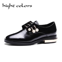 Hight Colors 2017 Women Oxfords Summer Ladies Shoes Low Heel PU Leather Lace Up Rhinestone Black Woman Wedding Shoes Size 34-43