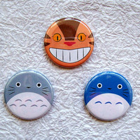 Totoro and Cat Bus 125 Anime Pinback buttons Set of 3 by sacari