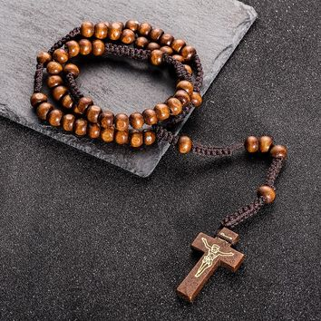 Long Rope Chain Wooden Beads Jesus Christ Cross Pendant Necklace Choker For Priest Religion Costume Jewelry Accessories Sales