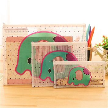 Cartoon elephant PVC Waterproof Zipper Pouch Packages for Office Document Folder and Travel Ticket Office Supplies HE73
