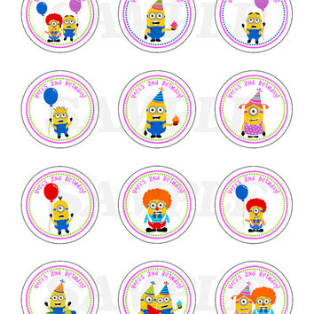 Minion inspired printable lables. Stickers, Cupcake Topper, Tags. birthday party labels. Round lables