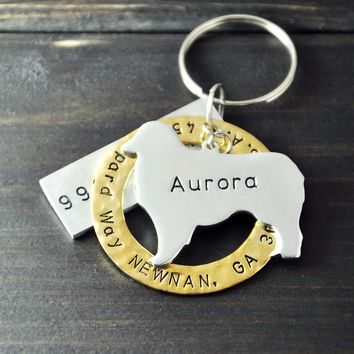 Personalized Australian Shepherd Dog Tag, Pet ID Tag Hand Stamped,  Customized Name Pet Dog Tag, Pet Jewelry
