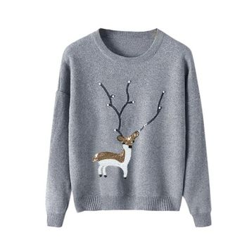 Giant Antler Sequin Reindeer Ugly Christmas Sweater