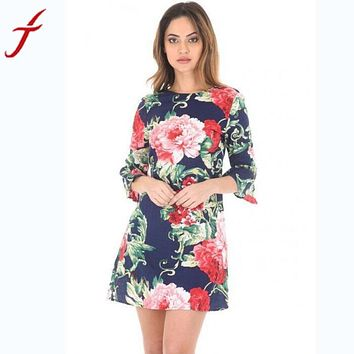 fashion Ladies Women Casual Flowers Printing Dress Casual Flare Sleeve three Quarter Dress Party A-line Mini Short autumn dress