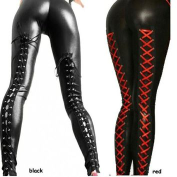Lace Up Leather Metallic Leggings Tights