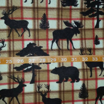 Wildlife Flannel fabric with bear moose elk deer plaid cotton print quilt sewing material to sew for crafting by the yard BTY