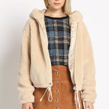 Teddy For Anything Bomber Jacket in Beige