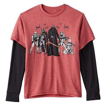 ESB7GX Star Wars: Episode VII The Force Awakens New Nemesis Mock-Layer Tee - Boys 8-20 Size