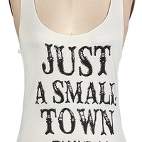 Just a Small Town Girl Tank Top (Ivory,Black, and Blue)