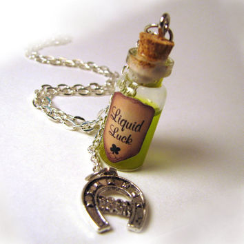 Liquid Luck  Glass Bottle Cork Necklace Good Luck by LittleGemGirl