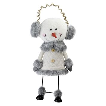 "15.5"" Winter White and Smokey Gray Decorative Snowman with Ear Muffs Figurine"