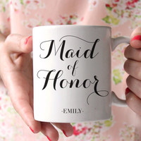 Maid Of Honor Coffee Mug - Maid Of Honor Gift - Will You Be My Maid Of Honor - Monogram Maid Of Honor Gift - Wedding Party Mug - Wedding