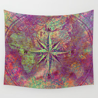 world map 132 #worldmap #map Wall Tapestry by jbjart