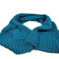 Hand Knit Teal Shawl with Knitted Loop