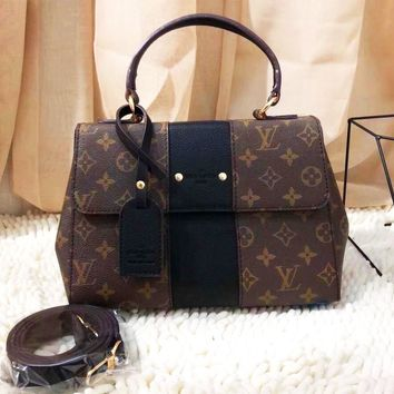 Louis Vuitton Women Fashion Leather Handbag Bag Square Bag Coffee Monogram-black line