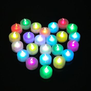 Candle wedding Candeles 12pcs LED Flameless Electronic Kaarsen Smokeless Colorful Flicker Tealight Decorative Bougies Velas Boda