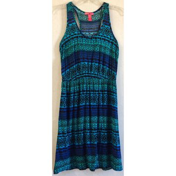Mix & Co Aztec Dress Ombre Stripe Tribal Geo Tank Fit & Flare Turquoise Blue S