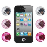 Bling Diamond Crystal Style Home Button Sticker for Apple iPod iPhone iPad, 6 Pieces, Assorted Color