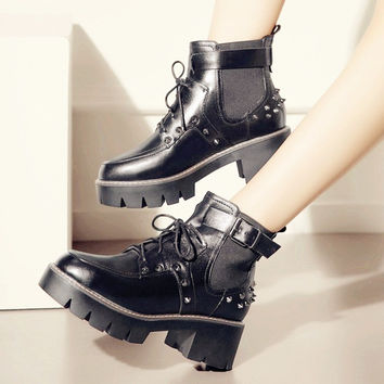 Hot Deal On Sale Winter With Heel Rivet Leather Boots [8914679110]