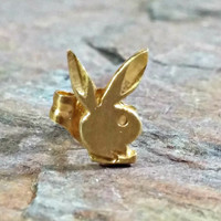 14k Gold Playboy Bunny Earrings Single Stud Post Earring Single Funny Bunny Fun to Wear in Extra Ear Hole 14k Yellow Gold Single Earring