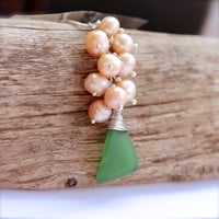 Sea Glass Jewelry made in Hawaii, Pink Freshwater Pearl with Green Seaglass by Mermaid Tears, Beach Bride
