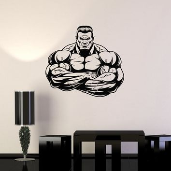 Vinyl Wall Decal Muscled Gym Muscular Man Bodybuilding Fitness Stickers Mural Unique Gift (ig5188)