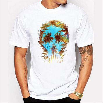 Coconut tree printed men's t-shirt casual basic tops