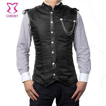 6XL Plus Size Black Striped Chains Stand Collar Sleeveless Steampunk Vest Gothic Corset Jacket Coat Vintage Waistcoat