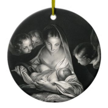 Nativity Baby Jesus Virgin Mary Angels Black White Ceramic Ornament