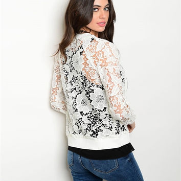 Women Fashion Off White Crochet Bomber Moto Jacket Cardigan Sweater Casual Boho