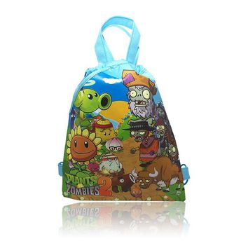 New Sale 4Pcs The Plants VS Zombies Cartoon Drawstring Backpack Shopping Bags ,Kids Party Gift,Non-woven fabrics