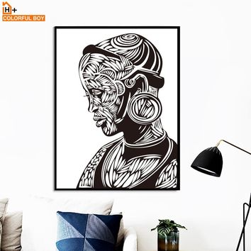 African Girl Abstract Art Canvas Painting Wall Art Nordic Posters And Prints Black White Wall Pictures For Living Room Decor