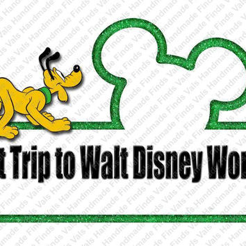 First Trip to Walt Disney World Pluto Printable Digital Iron On Transfer Clip Art DIY Tshirts Instant Download