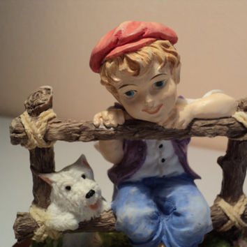 Vintage Collectible Figurine of A Boy and his Dog The Leonardo Collection 1987 Companions West Highland White Terrier Statue Boy with Westie