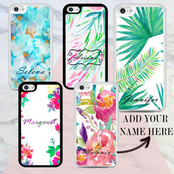 Palm Leaves Flower Print Pattern PERSONALISED Hard CASE COVER For APPLE iPhone | eBay