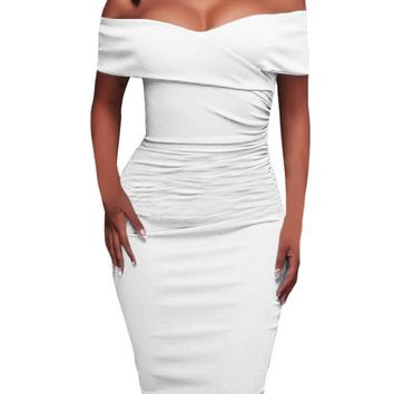 White Ruched Off Shoulder Bodycon Formal Midi Dress