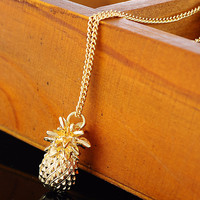 Pineapple Pendant Link Chain Necklace Gold Plated