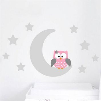 ZN  B10 Moon Stars Owl Good Night Nursery Wallpaper Wall Decal Sticker Painted Paper Children Baby Room Nursery Bedroom Decor