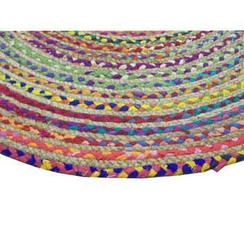 48 Inches Round Rainbow Chindi Rag Rug, Multicolor