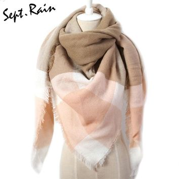 [Sept.Rain] Women Fashion Spring Designer Cashmere Triangle Warm Wool Plaid Blanket Scarf Pashmina Wrap Shawls and Scarves