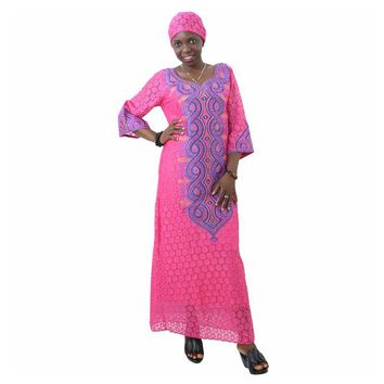 African lace fabric dress for women  traditional bazin clothing embroidery plus size african clothes robe africaine
