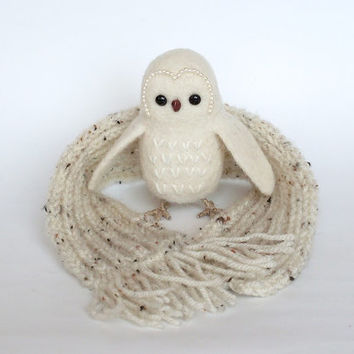 "White Polar Owl 4"",  Needle Felted Miniature, Soft Sculpture, OOAK, wool, white"