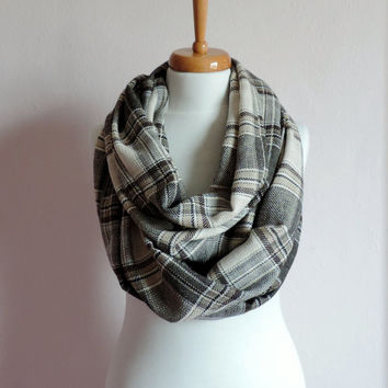 Unisex Brown and Ivory Plaid Scarf