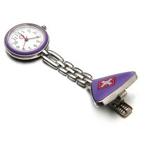 Purple Nurse Quartz Pendant Watch With Clip-on